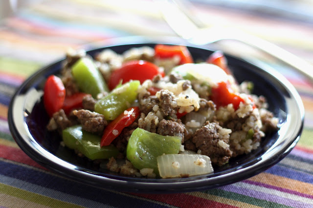 Spicy Hot Green Chile Beef and Pepper Skillet recipe by Barefeet In The Kitchen