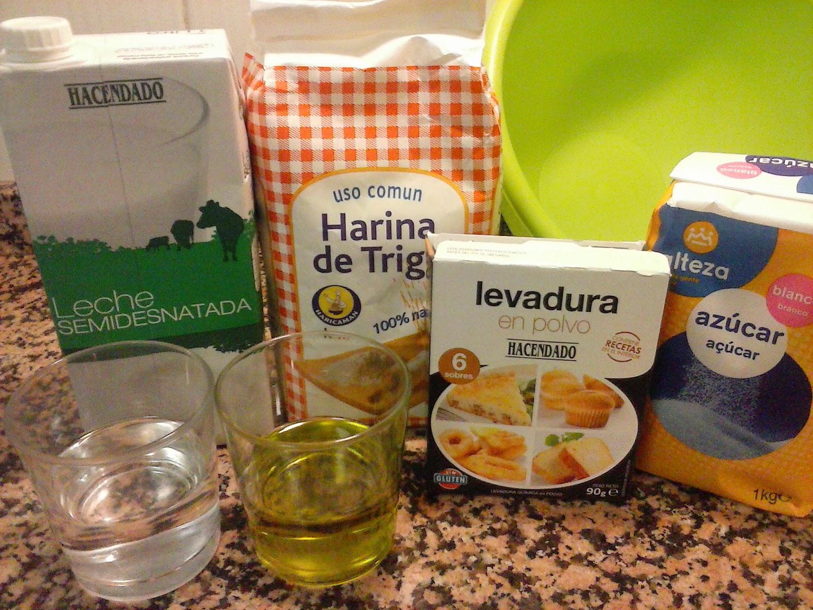 Ingredientes magdalenas caseras sin huevo