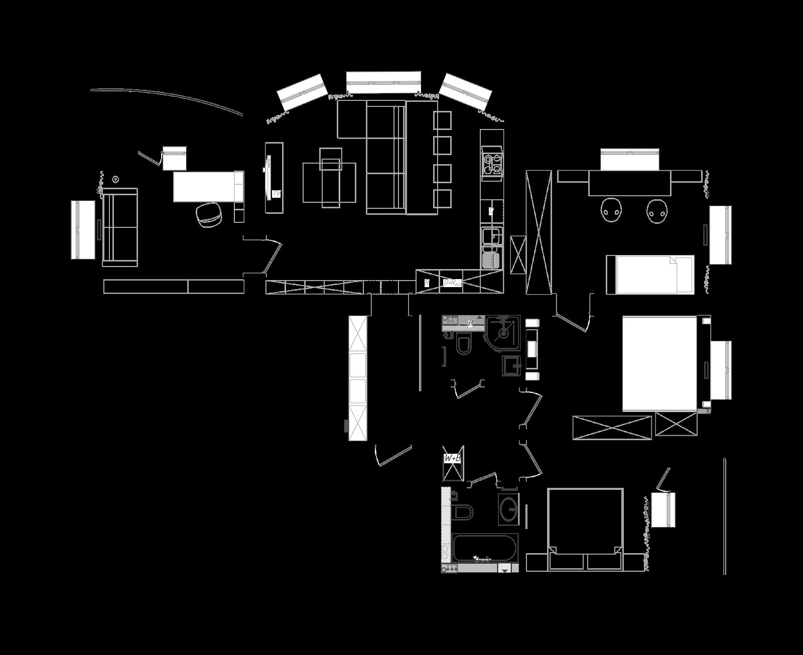 Перепланировка квартиры с панорамными окнами в гостиной