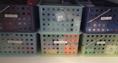 "stacking baskets holding ""medicine closet"" supplies"