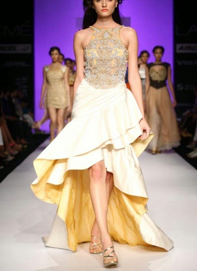Lashish Heavy White and Gold Gown | Indian Designers | Indian Designer dress by Sougat Paul