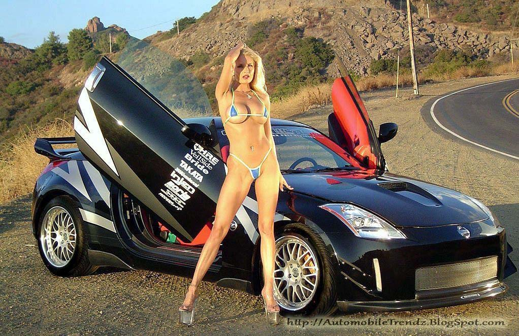 hot naked girls next to cool cars