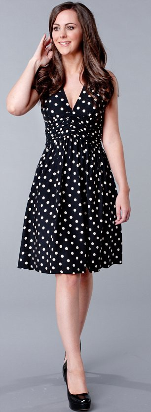 Polka dot dress, £49.99, zara.com. Black court shoes, £24.99, newlook.co.uk.
