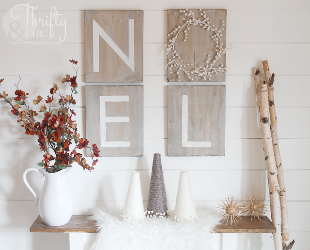 Faux driftwood noel sign made from new wood using an awesome technique to make it look old. Plus, no stencils required for the letters!