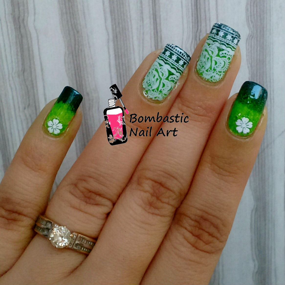 Green Ombre with Full Nail Water Slide Decal Nail Art – Bombastic ...
