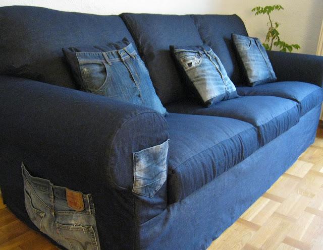 Fundas de sof a la carta sof con tela vaquera - Presupuesto tapizar sofa ...