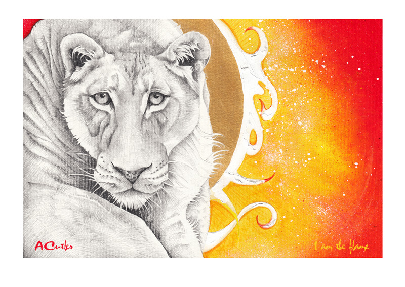 I am the Flame - Lion/Jesus inspirational drawing