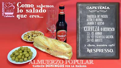 Almuerzo popular cafetería cerveza refresco olivas cacahuetes Laia's Cupcakes Puerto Sagunto