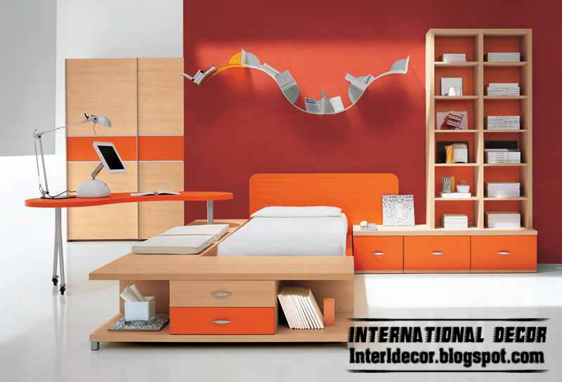 orange an white kids room color schemes idea modern kids room 2013