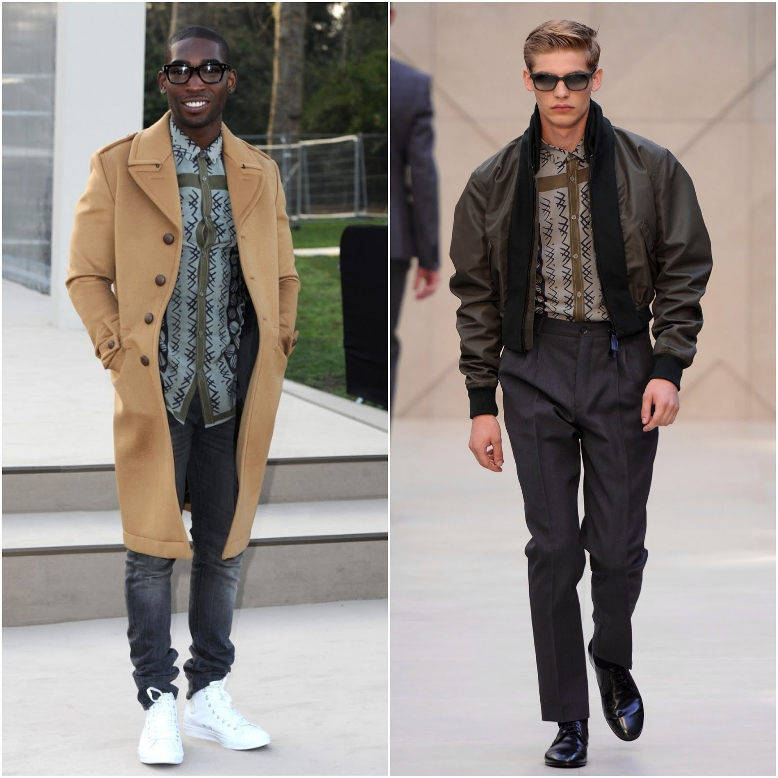 00O00 Menswear Blog Tinie Tempah in Burberry at Burberry Prorsum Womenswear Fall Winter 2013, London Fashion Week February 2013