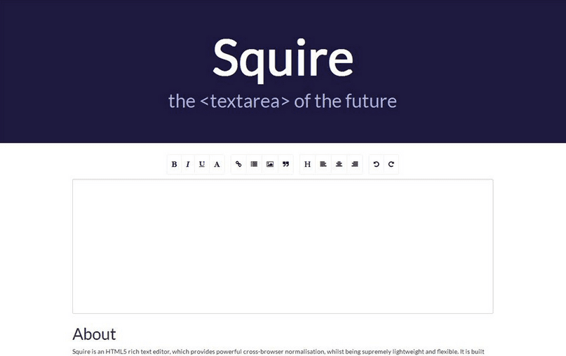 Squire HTML5 rich text editor
