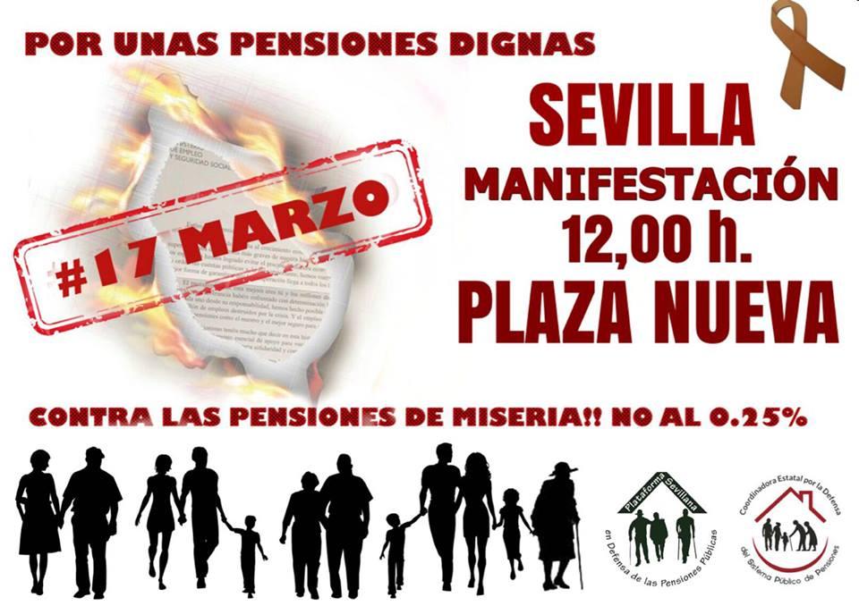SÁBADO 17M MANIFESTACIONES POR UNAS PENSIONES DIGNAS.Listado completo en Andalucía pinchar cartel.