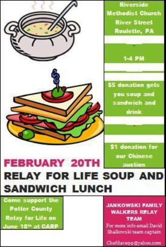 2-20 Relay For Life Soup & Sandwich