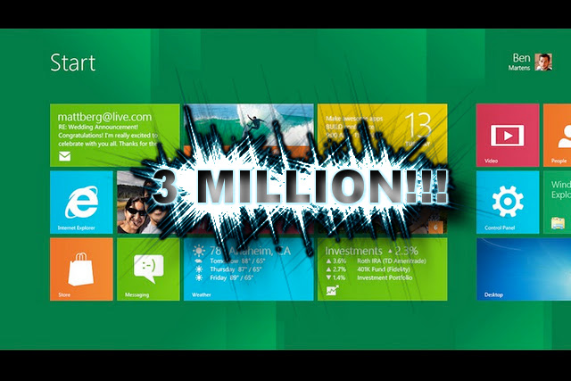 Windows 8 Developer Preview Hits 3 Million Download Mark