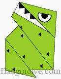 Bước 9: Vẽ mắt, răng, vây để hoàn thành cách xếp con khủng long bạo chúa Tyrannosaurus bằng giấy origami.