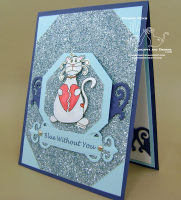 Front of my missing you cat card in blue sitting at a left angle.
