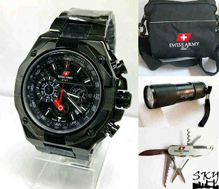 Jam Tangan Swiss Army 9686 Set Original