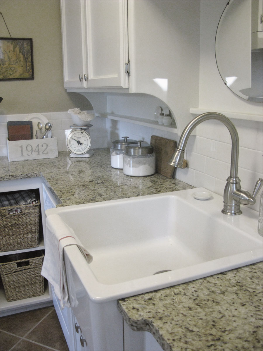 Remodelaholic  Beautiful White Kitchen; Before and After~ Farmhouse Sink Ikea Cabinet