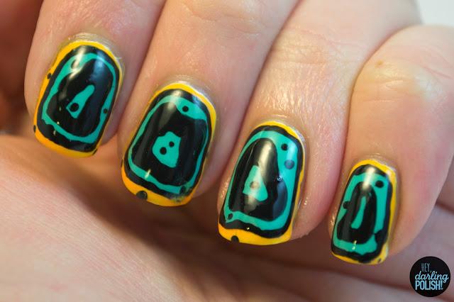 nails, nail art, nail polish, sea slug, slug, hey darling polish, animal print,