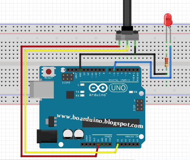 Mengatur kecerahan led dengan potensio di arduino boarduino