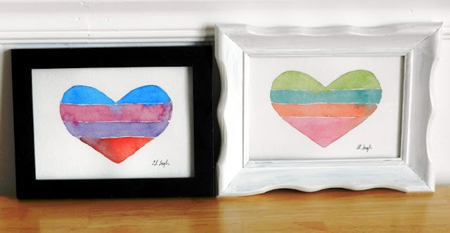 Striped Watercolor Heart Painting