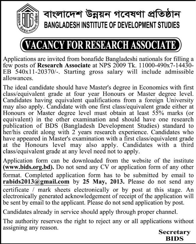 career at bangladesh institute of development studies bids