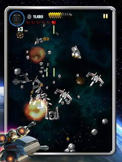 Screenshots of the LEGO: Star wars Microfighters for Android tablet, phone.