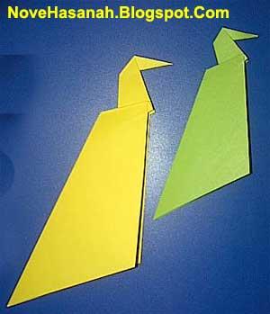 cara membuat origami yang mudah untuk anak TK, SD, dan pemula berbentuk burung merak