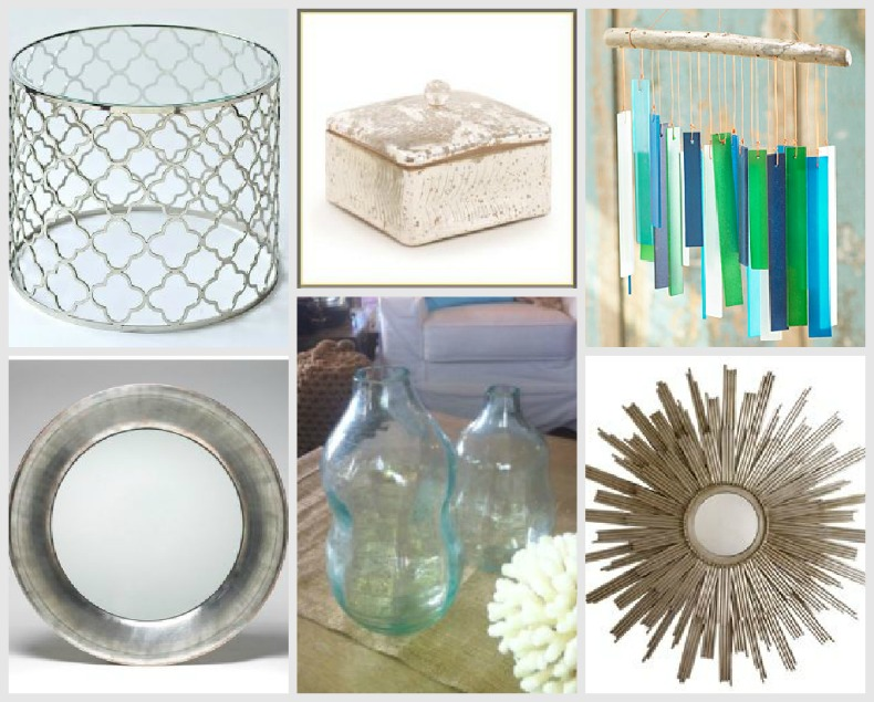 Coastal accessories, silver and glass