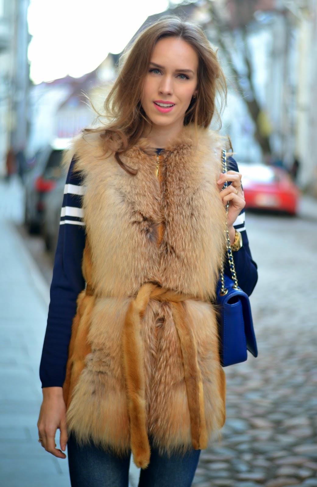 fashion-street-style-outfit-spring-2015-tan-fur-gilet kristjaana mere