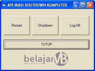 Cara Membuat Aplikasi Shutdown Restart Komputer | Tutorial Lengkap VB 6.0 | Belajar Visual Basic 6.0