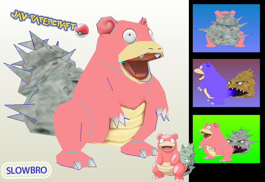 Pokemon Slowbro Papercraft