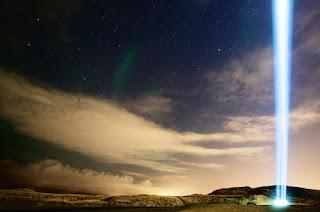 Imagine Peace Tower in Videj Island Reykjavik Iceland - a tower of light memorial from Yoko Ono to John Lennon