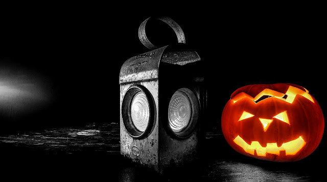 Halloween black and white photography with color