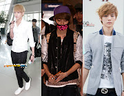 In the middle photo, Luhan is wearing a Baseball Jumper Polyester Jacket (in . (kris luhan airport fashion)