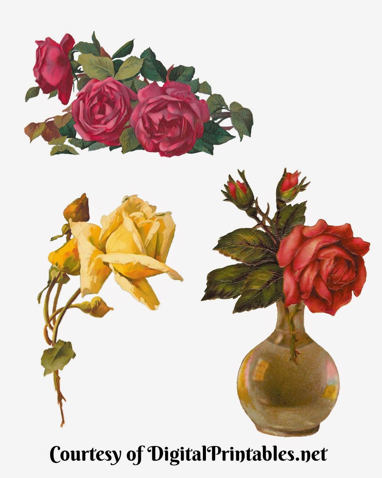 Free Vintage Scrap Roses Victorian