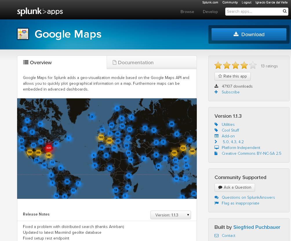 Google Maps app for Splunk