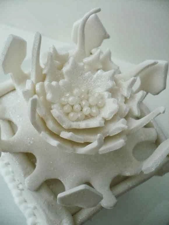 wintertaart, witte taart sneeuwbloem