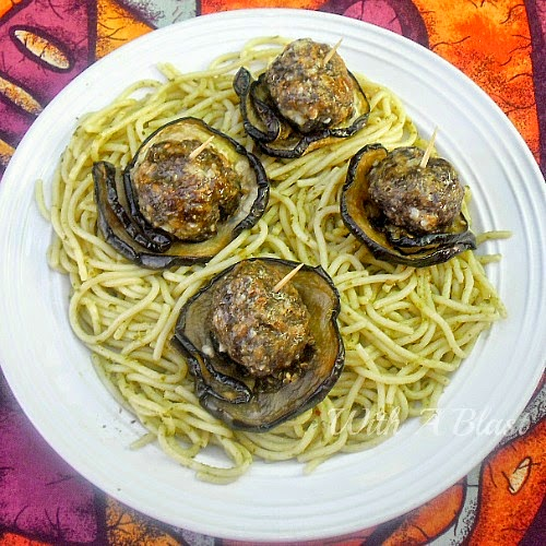 Feta Meatballs in Egglant on Pesto Pasta ~ Delicious weeknight dinner with a twist ~ Low-Fat meatballs wrapped in Eggplant over pasta #PastaDish #Meatballs #LowFat
