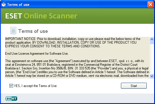 Terms of use Eset Online Scanner