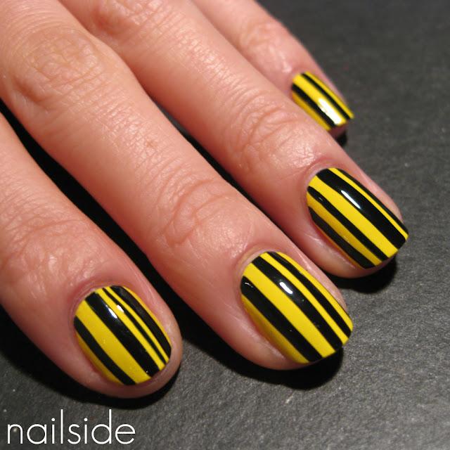 Nailside: Yellow & black stripes