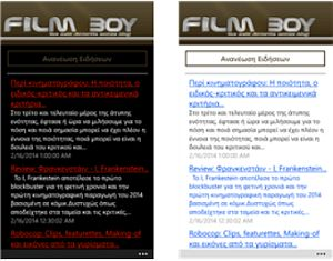 FilmBoy RSS Reader for Windows Phone