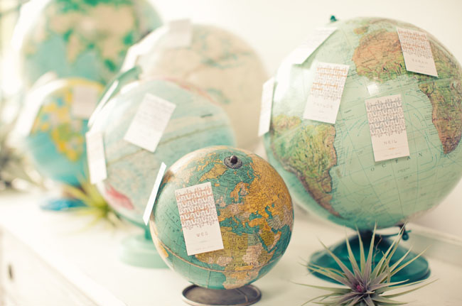 spin the seating plan on an assortment of globes