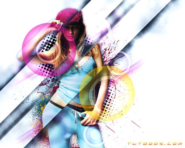 ... élégante mélangé avec un effet de déplacement dans Photoshop CS5