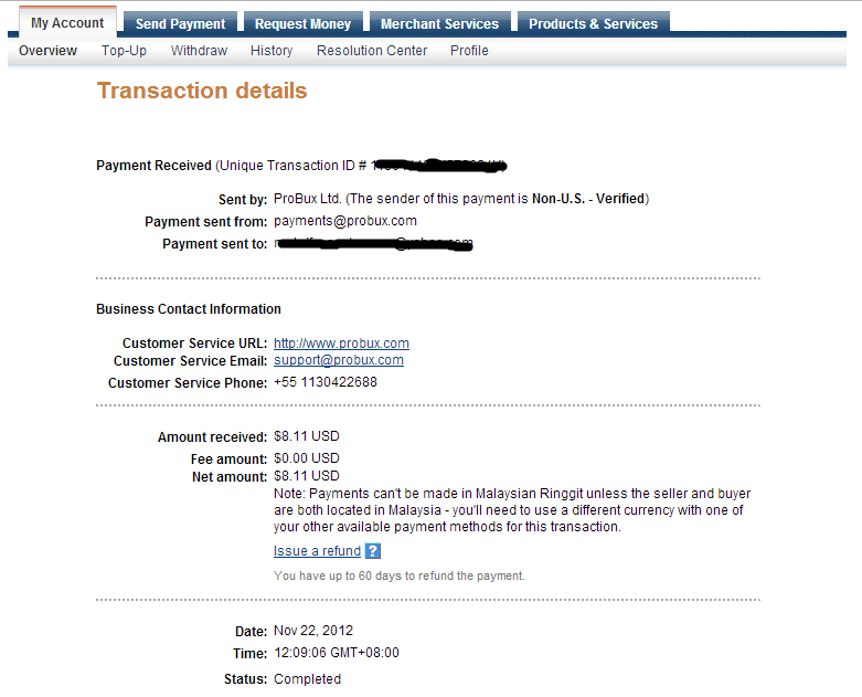 probux payment proof