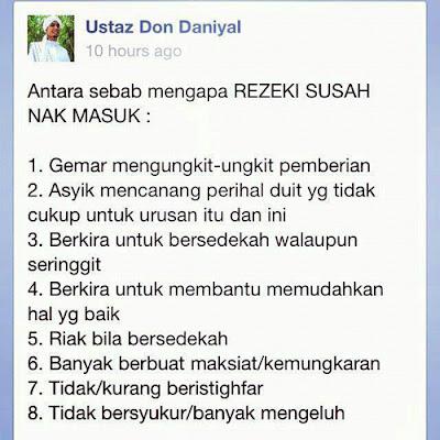 Sebab Mengapa Rezeki Susah Nak Masuk. Tazkirah Jumaat. Tazkirah Ustaz Don Daniyal