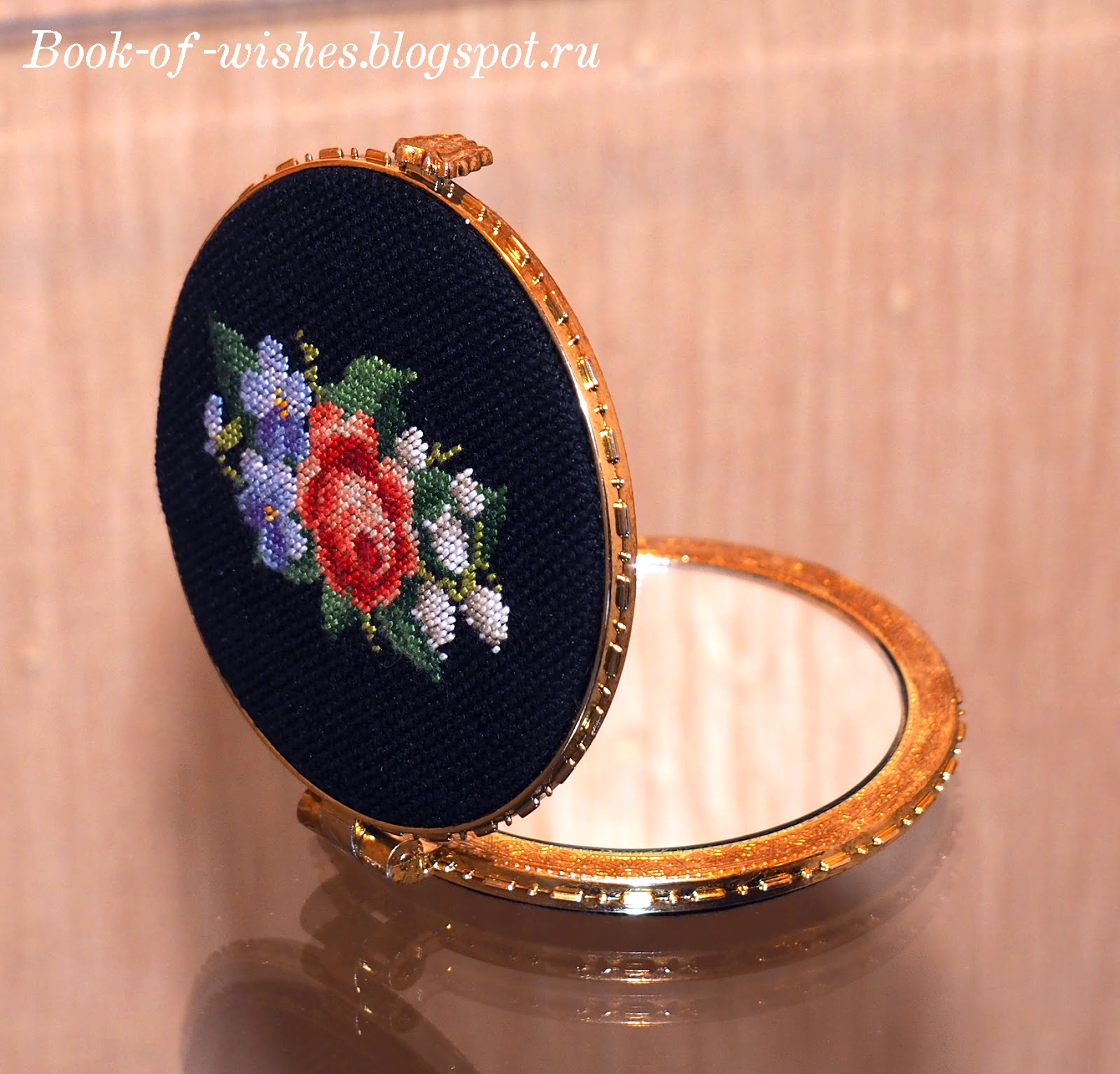 embroidery compact mirror