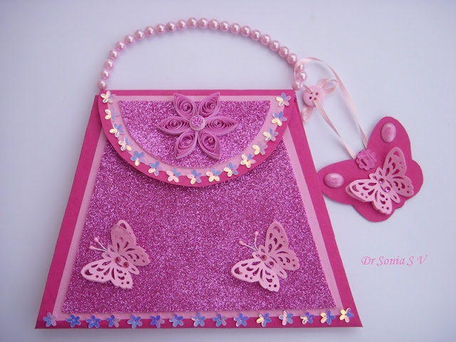 paper crafts for kids: purse card with fancy fold insert tutorial