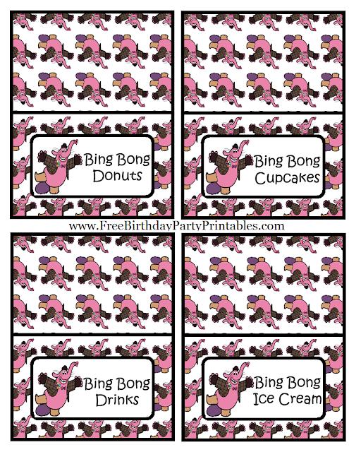 "Free Bing Bong  ""Inside Out""  Birthday Party Printables- Food Cards Bing Bong Donuts, Bing Bong Cupcakes, Bing Bong Drinks, Bing Bong Ice Cream"