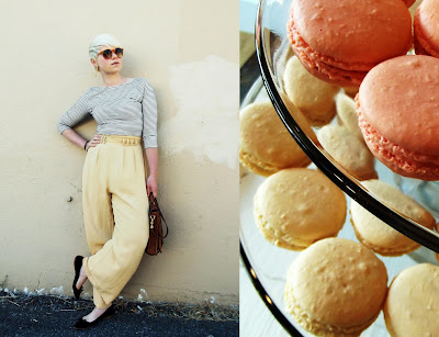 fno, summer fashion, macarons, blonde, short hair, flats